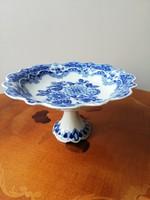 Gyönyörű Echt Kobalt kék virágmintás német sorszámozott jelzett porcelán talpas kínáló