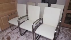 Bőr szánkótalpas, karfás székek ( 6db ) ÚJ!!!