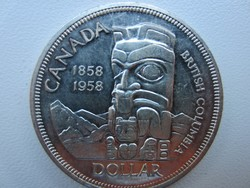 1958 Kanada Brit Kolumbia Totem 23.5gr 0.800ag ezüst érme 36mm 