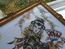 Szignós,aranyozott festmény selyemre,legyezővel táncoló gésa,Blondel keretben