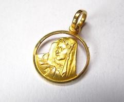 18 karátos arany Szűz Mária medál.
