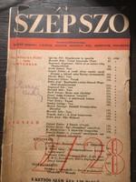 Szép Szó 1938 / 27-28 RITKA
