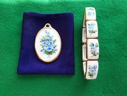 Herendi  porcelán medál és karkötő