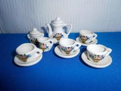 Nagyon szép baba házba való porcelán kicsi kávés teás készlet virág kosár mintával