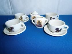 Nagyon szép baba házba való porcelán kicsi kávés teás készlet My Little Pony mintával