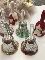 Üveg kézműves csengő gyűjtemény +porcelán karácsonyi dísz