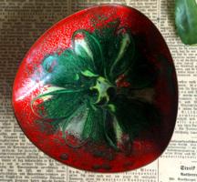 Szecesszió korabeli vörösréz-tűzzománc hamutál