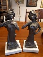 Szecessziós ón, női szoborpár