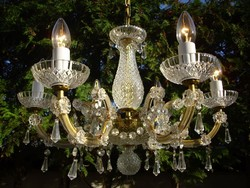 Cseh üveg kristálycsillár 6égős