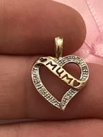 Gyönyörű arany ANYA felirattal gyémánt Köves medál certifikattal