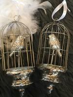 Üveg kézműves madárka kalitkában  karácsonyfadisz