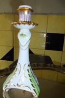 Hollóházi porcelán barokk gyertyatartó