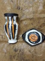 Gorka Lívia kerámia váza és hozzá tartozó tálka