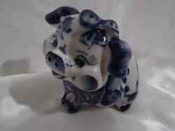 Porcelán - JELZETT - kézi festés - pufi Malacka - 10 x 9 x 7,5 cm - tökéletes hibátlan