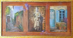 Walter Gábor - Provance etűd 40 x 80 cm vegyes technika, farost, keretezve
