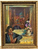 Bárkay Imre (1930) pazar színvilágú olajfestménye 1954-ből 94x74cm EREDETI GARANCIÁVAL !!