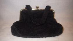 Fekete gyöngyös elegáns női színházi táska