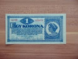 1 korona 1920 aa 029 Szép bankjegy