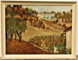 Dallos Ferenc (1928 - 2001) Tájkép c Képcsarnokos olajfestmény 86x66cm EREDETI GARANCIÁVAL !!