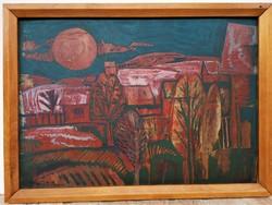 Vaszkó Erzsébet (1902 - 1986) Tájkép c. olajfestménye 60x43cm EREDETI GARANCIÁVAL !!