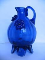 Régi kék hutaüveg korsó  (20,5 cm)