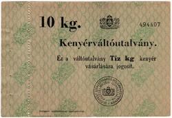 Kenyérváltó utalvány 10 kg