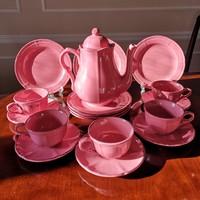 Rózsaszín majolika reggeliző készlet