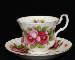 Csodaszép angol porcelán TEÁS szett árvácska mintával