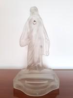 Antik üveg Jézus Szíve szobor vallási kegytárgy 31 cm