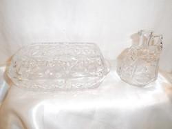 Üveg - 2 db - vajtartó + tejkiöntő - NAGY- 17 x 10 x 6 cm - 1,5 dl -vastag - nehéz - csiszolt  üveg