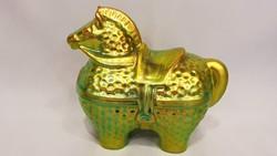 Zsolnay eozin mázas modern Nádor Judit tervezte trójai ló