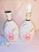 Szecessziós,jelzett olasz váza kerámia pár; gyönyörű szignózott kézzel festett orchideával az elején