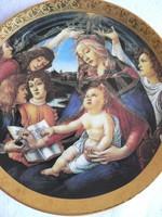 Porcelán Madonna falitányér, falidísz