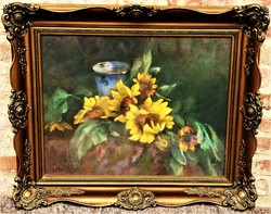 Páldy Zoltán (1884 - 1939) Virágcsendélet .c. pasztell képe 86x72cm EREDETI GARANCIÁVAL !!!