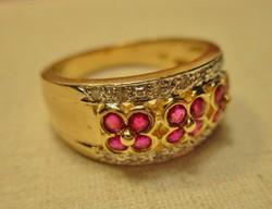 Gyönyörű valódi rubin és 0.21ct brill arany gyűrű 5.62g