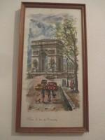 Diadalív árnyékában Párizsi utcakép,akvarell festmény 39 x 21 cm.