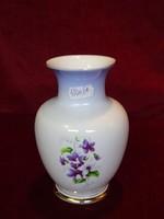 Hollóházi porcelán váza, 14,5 cm magas,ibolya mintás.