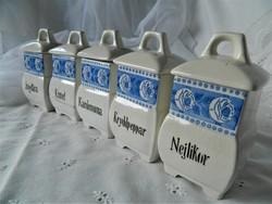 Régi gránit fedeles fűszertartó 5 db, kék fehér