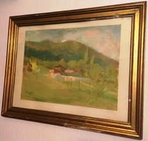 Tóth B. László (1906-1982): Faluszéli házak, akvarell, papír, jelzett, keretben, 40 x 51 cm