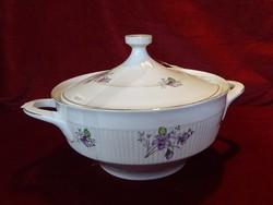 Bolgár porcelán leveses tál, lila virágmintával, vitrin minőség, 2,5 literes.