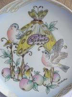 Hutschenreuther porcelán hónapos, madaras porcelán falitányér