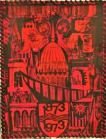 Zala Tibor (1920 - ) Budapest 100 éves c. szita grafikája 87x64cm EREDETI GARANCIÁVAL !!!