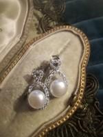 Ezüst fülbevaló valódi gyöngyökkel és cirkóniákkal ag925