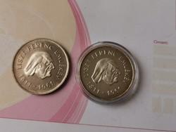 Liszt ezüst 25+50 Ft ezüst pár 17,5+20 gramm 0,750 keresett darabok