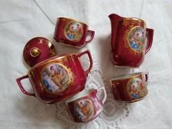 Drasche kávéskészlet, jelenetes, aranyozott, ritka lilás-bíbor színben