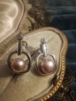 Ezüst egyedi modern fülbevaló valódi gyöngyökkel  ag925