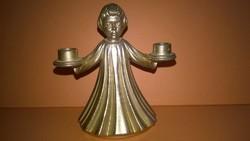 Gyertyatartó angyalka - fém miniatúra , polcdísz