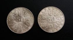 Verdefényes osztrák ezüst 50 schilling 1968 és 1969. Az ár a két érmére vonatkozik.