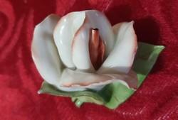 Régi, Aquincumi, kézzel festett, fehér porcelán rózsa , más színű középpel.