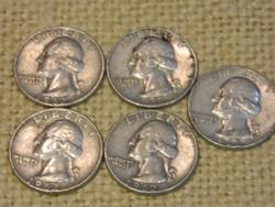 1962 Amerikai ezüst 1/4 dollár D veret 5 db együtt.